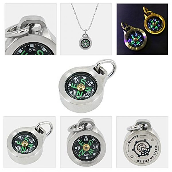 MecArmy Survival Compass 6 MecArmy CMP Titanium/Brass EDC Compass, Teardrop Shaped Design with Exquisite engrave, Fluorescence Glow in The Dark Max runtime of 6 Hours IPX5 Waterproof Free Beaded Chain Worn as Pendant