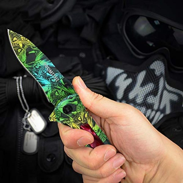 Promithi Folding Survival Knife 2 Promithi Camo EDC Pocket Knife Assisted Opening Stainless Steel Blade Camping Hunting Survival Outdoor Folding Knife Lock Collection Knives 8 Inch, Colorful