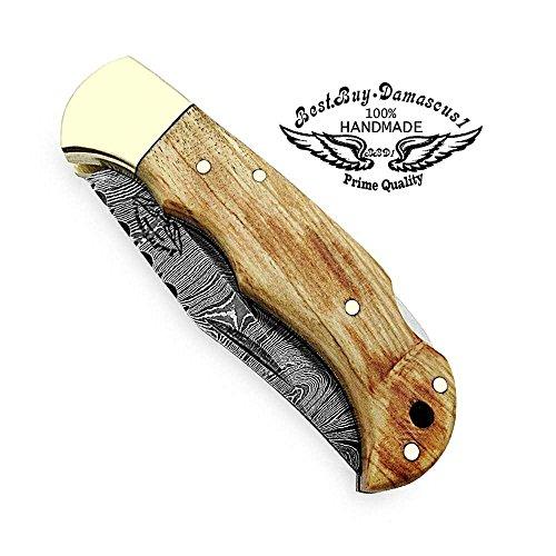 Best.Buy.Damascus1  3 Pocket Knife Olive Wood 6.5'' Damascus Steel Knife Brass Bloster Back Lock Folding Knife + Sharpening Rod Pocket Knives 100% Prime Quality+ Buffalo Horn Small Pocket Knife + Damascus Knife