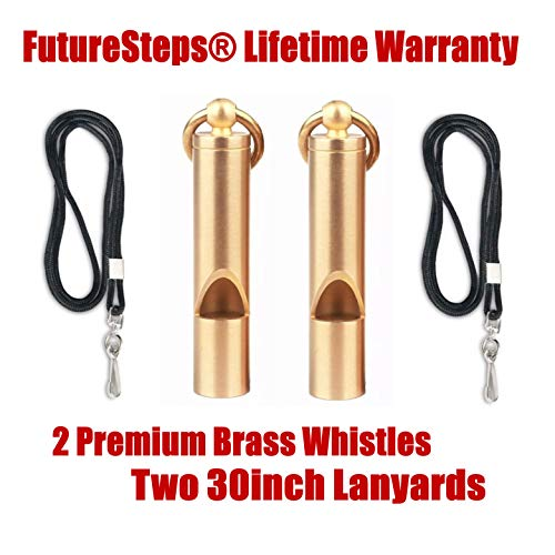 FUTURESTEPS  2 FUTURESTEPS Premium Brass Whistles Set of 2 - Includes 2 Black Lanyard 30 Inches - Loud Survival Whistles - Solid Brass