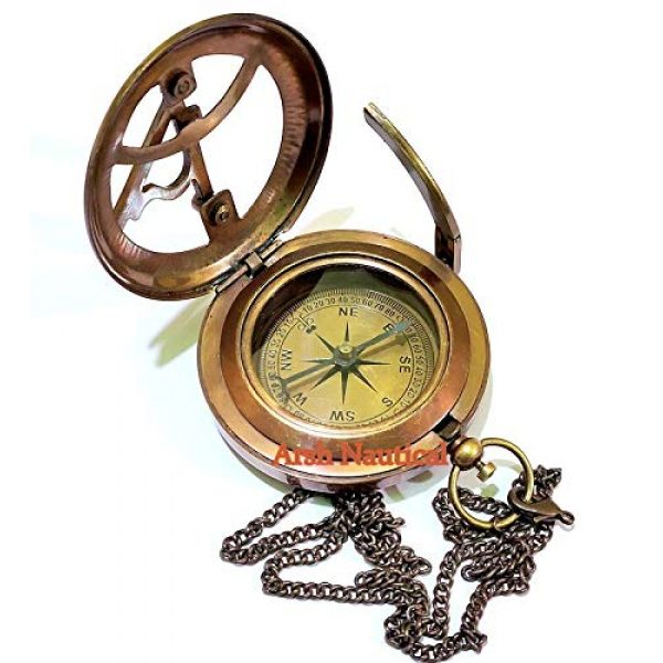 Arsh Nautical Survival Compass 7 Arsh Nautical Gifts for Husband/Nautical Collectibles Brass Sundial Compass with Handmade Leather Case