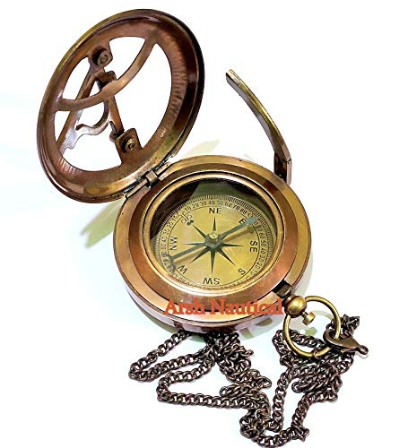 Arsh Nautical  7 Arsh Nautical Gifts for Husband/Nautical Collectibles Brass Sundial Compass with Handmade Leather Case