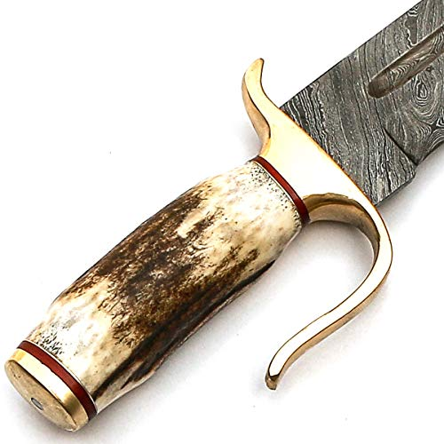 PAL 2000 KNIVES  7 Custom Handmade Damascus Steel Antler STAG HORN Hunting Bowie Knife -Sword/Chef Kitchen Knife/Dagger/Full Tang/Axe/Billet/Cleaver/Bar/Folding Knife/knives accessories/survival/Camping With Sheath 9192