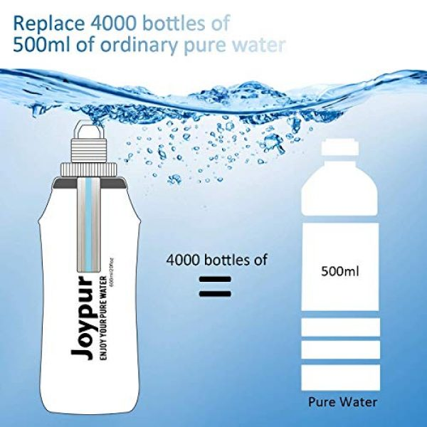 joypur Survival Water Filter 7 joypur Outdoor Filtered Water Bottle - BPA Free,with Filter Integrated 2 Stage Portable Water Bottle for Camping Travel Hiking Backpacking