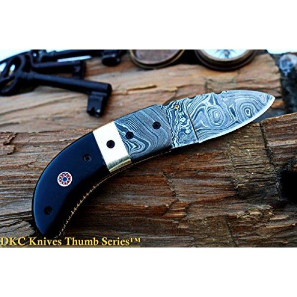 """DKC Knives Folding Survival Knife 6 (8 6/18) Sale DKC-43 Black Thumb Damascus Steel Folding Pocket Knife 3.5"""" Folded 6.25"""" Open 7.5oz 2.25"""" Blade Black Buffalo Horn Damascus Bolster"""