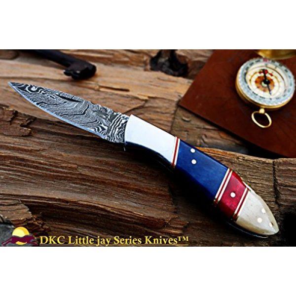 "DKC Knives Folding Survival Knife 6 DKC Knives Sale DKC-58-LJ-CL-DS-PC Little Jay Classic Pocket Clip Damascus Folding Pocket Knife Buffalo Horn Handle 4"" Folded 7"" Long 4.7oz oz High Class Looks Incredible Hand Made LJ-Series"
