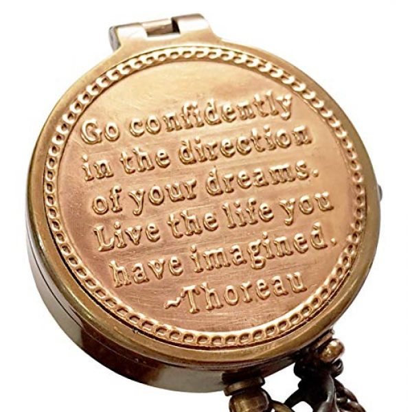 Brass Nautical Survival Compass 3 Brass Nautical Thoreau's Go Confidently Embossed Solid Brass Compass with Leather Case