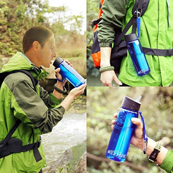 Wild Peak Survival Water Filter 6 Wild Peak Stay Alive-4 Outdoor 4-Stage Water Filter Straw Emergency 22oz Bottle with Activated Carbon for Survival, Camping, Hiking, Climbing, Backpacking (1500 Liters)