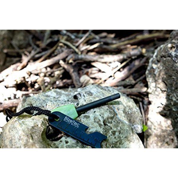 BlizeTec Survival Fire Starter 7 BlizeTec Fire Starter: Best 6-in-1 Magnesium Emergency Fire Starter with Luminous Green Handle, Mini Ruler, Bottle Opener, Serrated Edge and Rescue Whistle; Last Up to 12,000 Strike