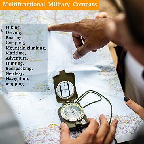 BBTO  5 2 Pieces Military Lensatic Sighting Compass Metal Sighting Navigation Compasses Impact Resistant Waterproof Lightweight Inclinometer Compasses with Carrying Bag for Hiking Camping Motoring Hunting