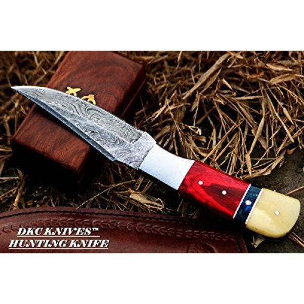 """DKC Knives Fixed Blade Survival Knife 4 DKC Knives (15 5/18) DKC-720 RED BIRD Damascus Steel Bowie Hunting Handmade Knife Fixed Blade 8.9 oz 9"""" Long 4.5"""" Blade"""