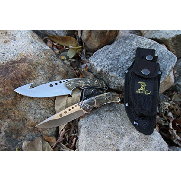 Elk Ridge Fixed Blade Survival Knife 6 Elk Ridge - Outdoors Hunting Knife Set- 2 PC Fixed Blade and Folding Knife Set, Satin Finished Stainless Steel Blades, Camo Coated Handles, Includes Combo Nylon Sheath - Hunting, Camping, Survival - ER-054CA