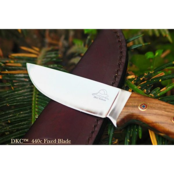 """DKC Knives Fixed Blade Survival Knife 2 Sale (5 9/18) DKC-73-440c Survival 1 440c Stainless Steel Hunting Knife 8"""" Long 4"""" Blade 5.4 oz ! Walnut Wood Handle"""