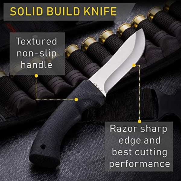 Grand Way Fixed Blade Survival Knife 3 Grand Way Tactical Knife - Survival Bushcraft Fixed Blade Knife with Elastron Handle for Hunting and Fishing - Best Bowie Big Blade Knife for Self Defense 01085