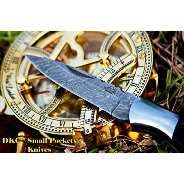 "DKC Knives Folding Survival Knife 3 DKC Knives DKC-58 Little Jay Series Knives Damascus Folding Pocket Knife 4"" Folded 7"" Long 4.7oz oz High Class Looks Hand Made LJ-Series"
