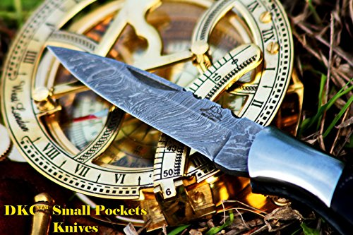 "DKC Knives  3 DKC Knives DKC-58 Little Jay Series Knives Damascus Folding Pocket Knife 4"" Folded 7"" Long 4.7oz oz High Class Looks Hand Made LJ-Series"