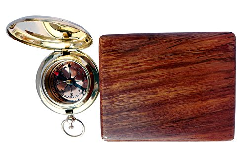 THORINSTRUMENTS Survival Compass 3 Handmade Brass Push Open Compass with Rose Wood Case, Pocket Compass for Hiking