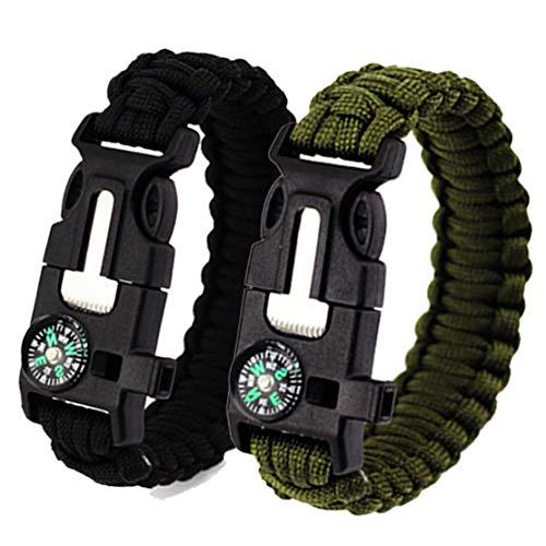 Feellove  7 Feellove 2pcs Survival Bracelets Compass Flint Bracelet Outdoor Escape Survival Hand Rope Survival Whistle Life-Saving Flint Bracelet