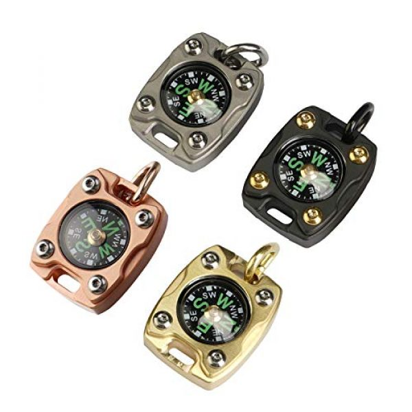 MecArmy Survival Compass 6 MecArmy CMP2-T High Sensitivity EDC Compass, Mechanical Instrument Inspired Design with Exquisite Engrave, Fluorescence Glow in The Dark Free Beaded Chain Worn as a Pendant