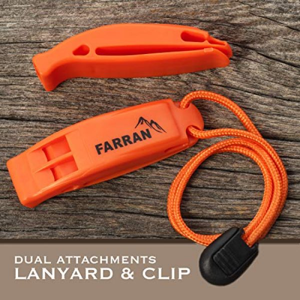 Farran Outdoor Survival Whistle 6 Farran Outdoor Emergency Safety Whistle Lightweight Plastic Survival Whistles with Lanyard and Clip Good for Car Rescue Gear Walking Hiking Boating Fishing Camping Travel Backpacking (2 Pack)