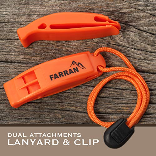 Farran Outdoor  6 Farran Outdoor Emergency Safety Whistle Lightweight Plastic Survival Whistles with Lanyard and Clip Good for Car Rescue Gear Walking Hiking Boating Fishing Camping Travel Backpacking (2 Pack)