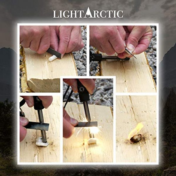 LightArctic Survival Fire Starter 3 LightArctic Magnesium Fire Starter Survival Multi-Tool with Tinder. Best for Campfires, Emergency Kit, Camping and Hiking Gear. Built-in Compass and Whistle, Waterproof Aluminum Capsule, Cloth Bag