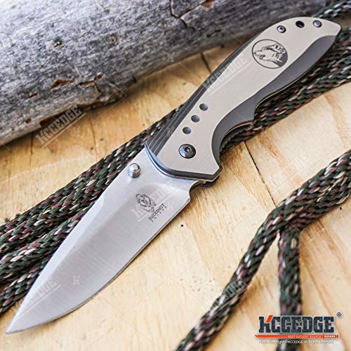 KCCEDGE BEST CUTLERY SOURCE  5 KCCEDGE BEST CUTLERY SOURCE EDC Pocket Knife Camping Accessories Razor Sharp Edge Wildlife Folding Knife Camping Gear Survival Kit 57376 (Wolf)
