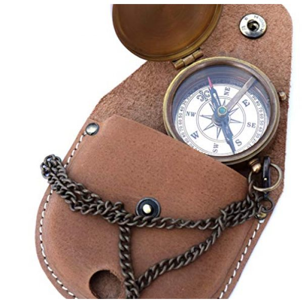 NEOVIVID Survival Compass 2 NEOVIVID Brass Compass Engraved with Thoreau's Go Confidently Quote and Stamped Leather Case, Boys Gifts