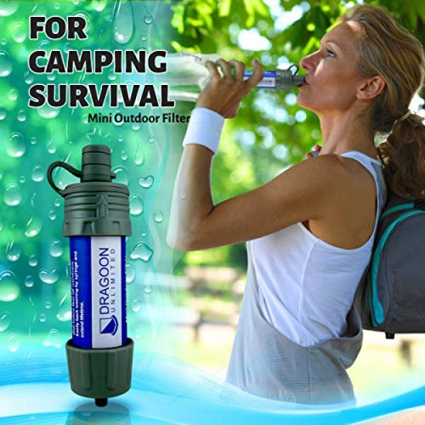 Dragoon Unlimited Survival Water Filter 3 Dragoon Unlimited Mini Camping & Survival Water Filter - Durable & Travel Size - Outdoor Emergency, Travel, Hiking Water Filtration Backpacking - 17 Oz Drinking Pouch & Cleaning Tool Included