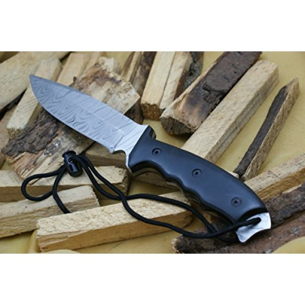 Knife King Fixed Blade Survival Knife 7 Knife King Model 2 Custom Damascus Hunting Knife Black Micarta Handle