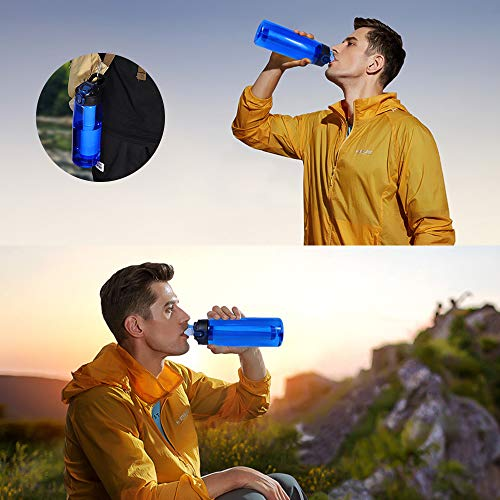EJEAS  3 EJEAS Water Filter Bottles 22 Ounce Water Bolttle with 2 Replaceable 2-Stage Integrated Filter Straw BPA Free for Hiking