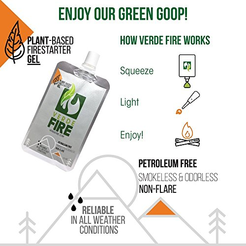 Verde Fire Survival Fire Starter 2 Fire Starter Gel - Instant Lighting Gel for Campfires, Barbecue, Emergency Survival | Non-Toxic, Smokeless & Natural - All Weather Fire Gel