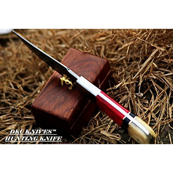 """DKC Knives Fixed Blade Survival Knife 6 DKC Knives (15 5/18) DKC-720 RED BIRD Damascus Steel Bowie Hunting Handmade Knife Fixed Blade 8.9 oz 9"""" Long 4.5"""" Blade"""