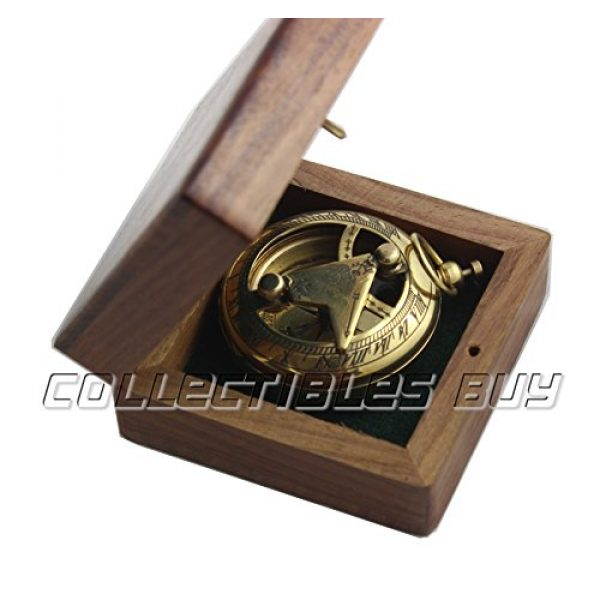 collectiblesBuy Survival Compass 2 Marine Sundial Compass with Nautical Solid Wooden Box Vintage Brass Ship Navigate Device Nautical Gift Collection
