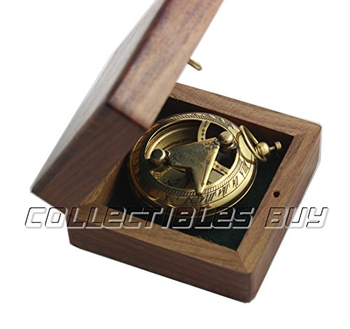 collectiblesBuy  2 Marine Sundial Compass with Nautical Solid Wooden Box Vintage Brass Ship Navigate Device Nautical Gift Collection