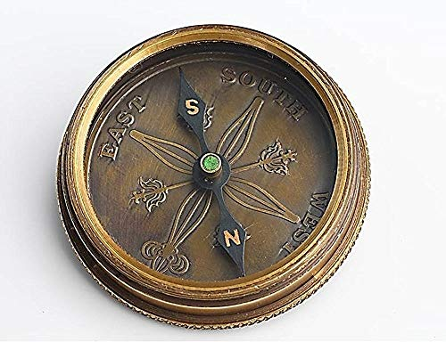 Roorkee Instruments India Survival Compass 5 Roorkee Vintage Brass Compass with Leather Case/J.R.R. Tolkien Directional Magnetic Compass for Navigation/Tolkien Compass for Camping, Hiking, Touring/Gift for Him