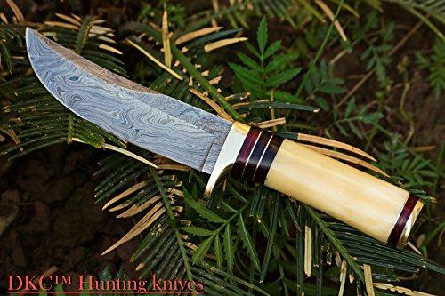 "DKC Knives  2 DKC Knives (14 5/18) SALE DKC-30 ALASKA Damascus Steel Hunting Bowie Knife 10.5"" Long 5"" Blade 8oz"