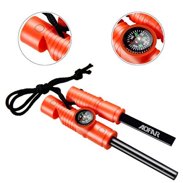 AOFAR Survival Fire Starter 5 AOFAR AF-4580/381 Military Compass Lensatic Sighting and Fire Starter Survival Kit,Waterproof and Shakeproof Measurer Distance Calculator and Pouch for Camping, Hiking, Hunting, Backpacking