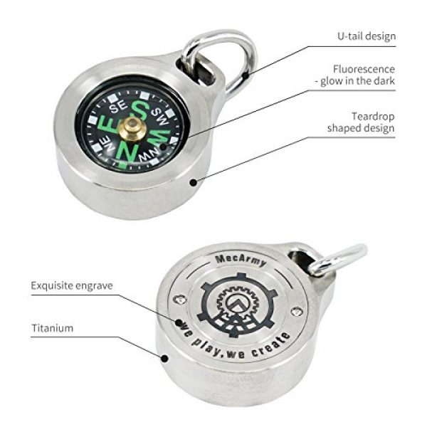 MecArmy Survival Compass 5 MecArmy CMP Titanium/Brass EDC Compass, Teardrop Shaped Design with Exquisite engrave, Fluorescence Glow in The Dark Max runtime of 6 Hours IPX5 Waterproof Free Beaded Chain Worn as Pendant