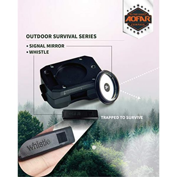 AOFAR Survival Compass 4 AOFAR AF-4090 Multifunctional Military Compass Waterproof and Shakeproof with Signal Mirror,Whistle,Fishing Hook and Line for Camping,Boy Scount,Geology Activities Boating