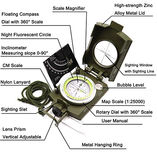 DETUCK Survival Compass 2 DETUCK(TM Military Compass Metal Lensatic Compass with Inclinometer, Night Fluorescent, Impact Resistant and Waterproof, Sighting Navigation Survival Compass for Hiking, Camping, Hunting, etc
