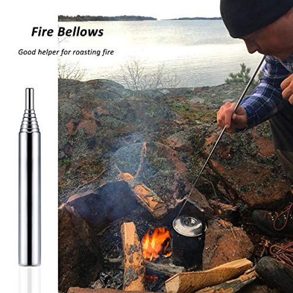 AUHOKY Survival Fire Starter 7 AUHOKY Pocket Size Fire Bellows Gear, Collapsible Fire Blower Pipe Campfire Tool Builds Fire, Premium Stainless Steel Fire Bellowing Tube for Outdoor Camping Traveling Fireplace (Black+Orange)