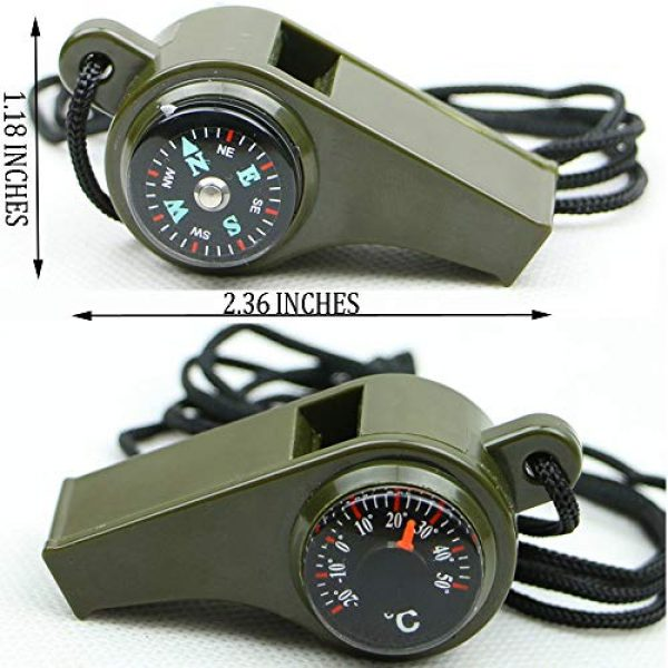 TTSAM Survival Whistle 2 TTSAM Emergency Whistle with Lanyard, Multi-Functional 3 in1 Survival Gear Compass Thermometer for Outdoor Camping Hiking