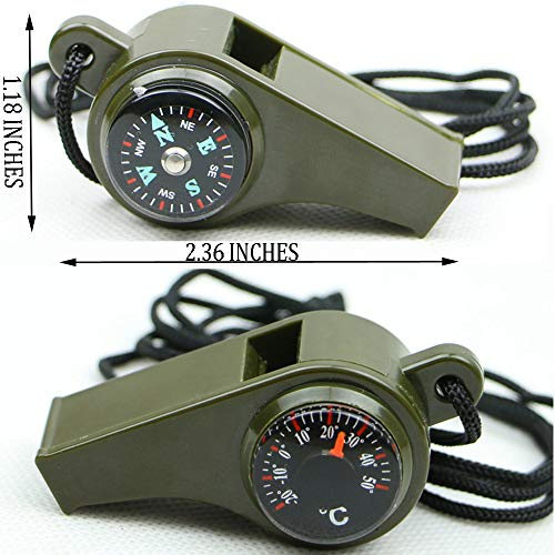 TTSAM Emergency Whistle with Lanyard Multi-Functional 3 in1 Survival Gear Compass Thermometer for Outdoor Camping Hiking