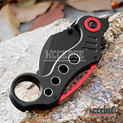 KCCEDGE BEST CUTLERY SOURCE  4 KCCEDGE BEST CUTLERY SOURCE Pocket Knife Camping Accessories Survival Kit Razor Sharp Karambit Survival Folding Knife Camping Gear EDC 55310 (Black/Red)