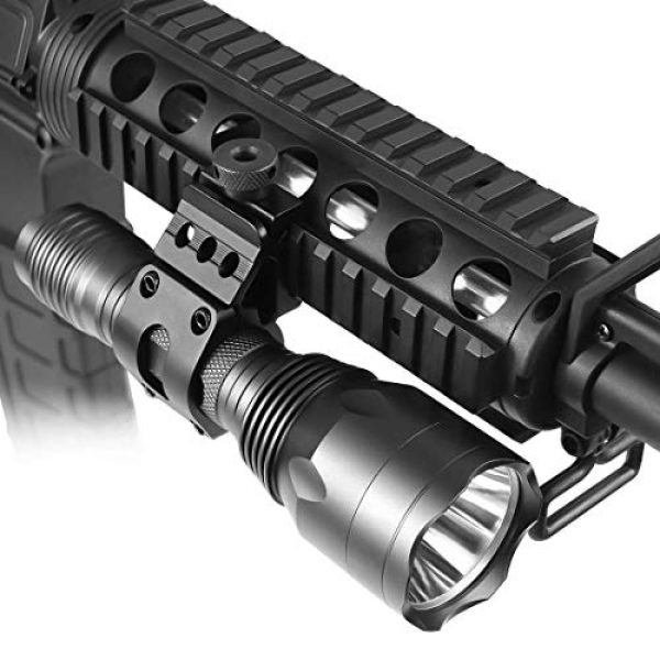 BESTSUN Survival Flashlight 4 Tactical Flashlight 1200Lumens Waterproof Cree L2 LED Single Mode Hunting Light with Picatinny Rail 45° Offset Side Mount & Barrel Rifle Mount, Pressure Switch, Rechargeable Batteries and Charger