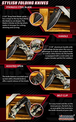 KCCEDGE BEST CUTLERY SOURCE  7 KCCEDGE BEST CUTLERY SOURCE Pocket Knife Camping Accessories Survival Kit Razor Sharp Edge Camouflage Folding Knife with Glass Breaker Cord Cutter Camping Gear 56843