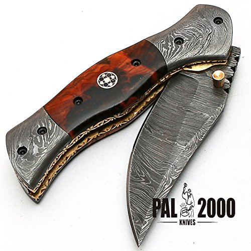PAL 2000 KNIVES  7 Custom Handmade Damascus Steel Hunting Folding Pocket Knife -Sword/Chef Kitchen Knife/Dagger/Full Tang/Skinner/Axe/Billet/Cleaver/Bar/Bowie/Kukri/knives accessories/survival/Camping With Sheath 8844