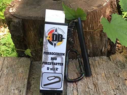 "4 Directions Bushcraft  3 4DB 1/2""x5"" Ferrocerium Rod Firestarter Bushcraft Camping Flint/Mischetal Fire Starter Fire Steel Firstarting Rod Emergency Survival Gear Firestarter with Lanyard and Carabiner"