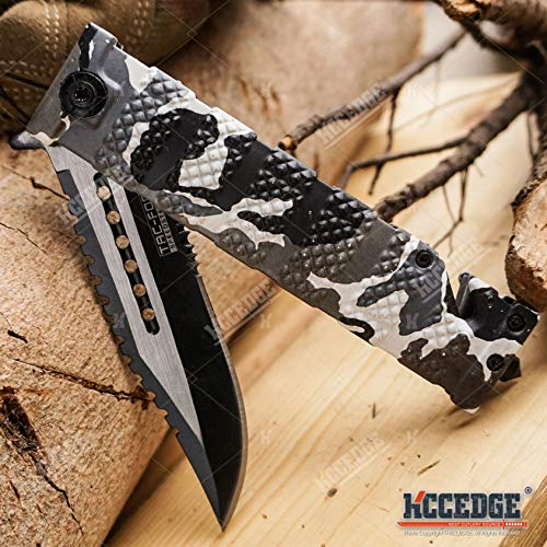 KCCEDGE BEST CUTLERY SOURCE  4 KCCEDGE BEST CUTLERY SOURCE Pocket Knife Camping Accessories Survival Kit Razor Sharp Serrated Clip Point Survival Folding Knife Camping Gear Survival Kit EDC 55419